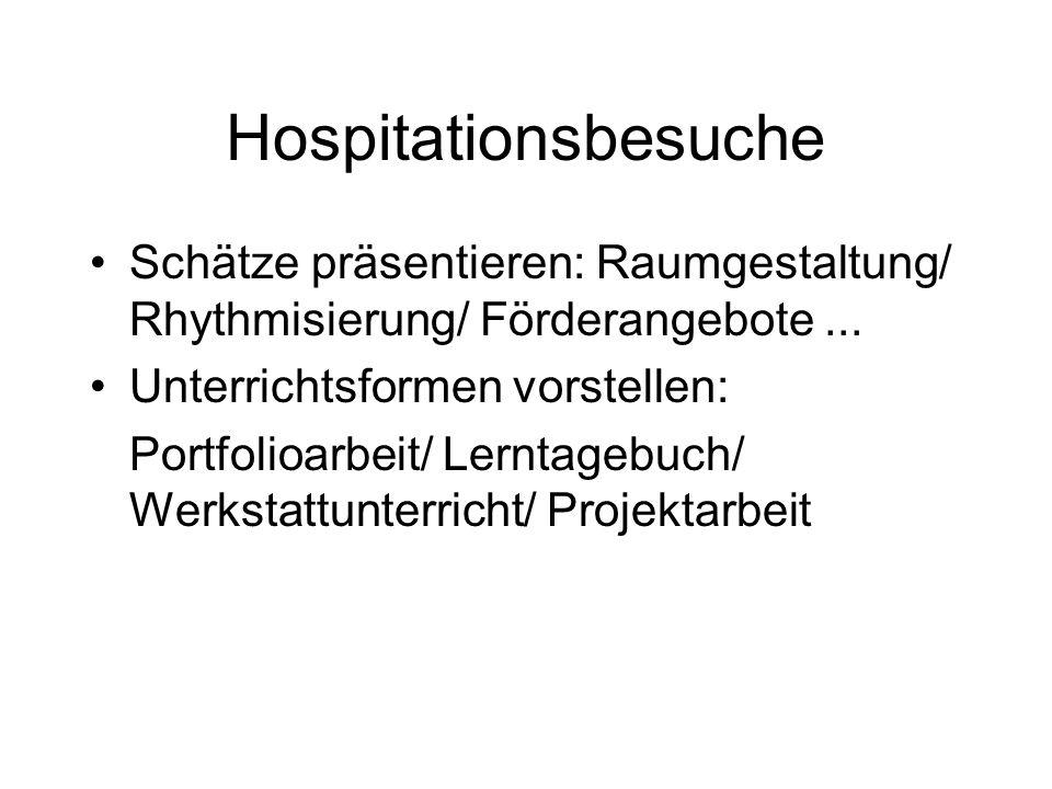 Hospitationsbesuche Schätze präsentieren: Raumgestaltung/ Rhythmisierung/ Förderangebote... Unterrichtsformen vorstellen: Portfolioarbeit/ Lerntagebuc