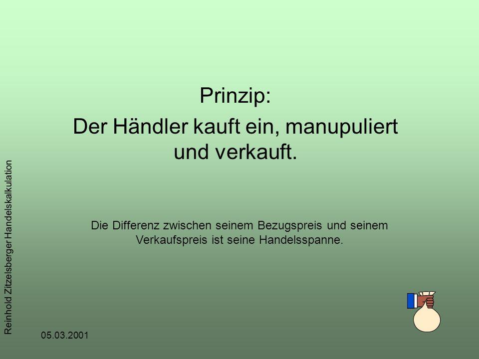 05.03.2001 Reinhold Zitzelsberger Handelskalkulation Prinzip: Der Händler kauft ein, manupuliert und verkauft.