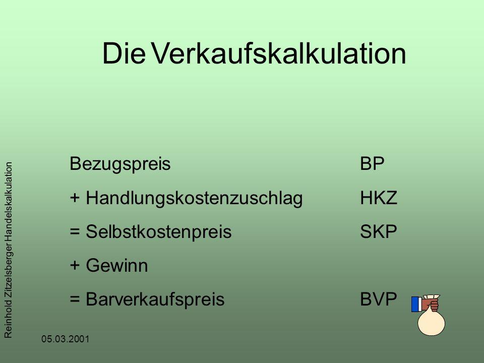 05.03.2001 Reinhold Zitzelsberger Handelskalkulation Die Verkaufskalkulation BezugspreisBP + HandlungskostenzuschlagHKZ = SelbstkostenpreisSKP + Gewinn = BarverkaufspreisBVP