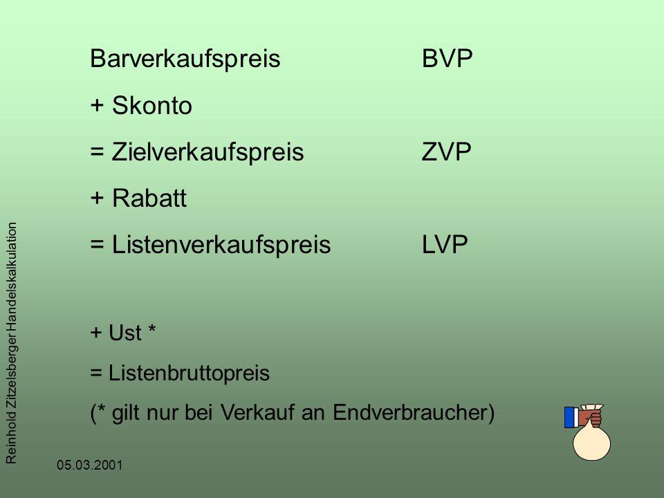 05.03.2001 Reinhold Zitzelsberger Handelskalkulation BarverkaufspreisBVP + Skonto = ZielverkaufspreisZVP + Rabatt = ListenverkaufspreisLVP + Ust * = Listenbruttopreis (* gilt nur bei Verkauf an Endverbraucher)
