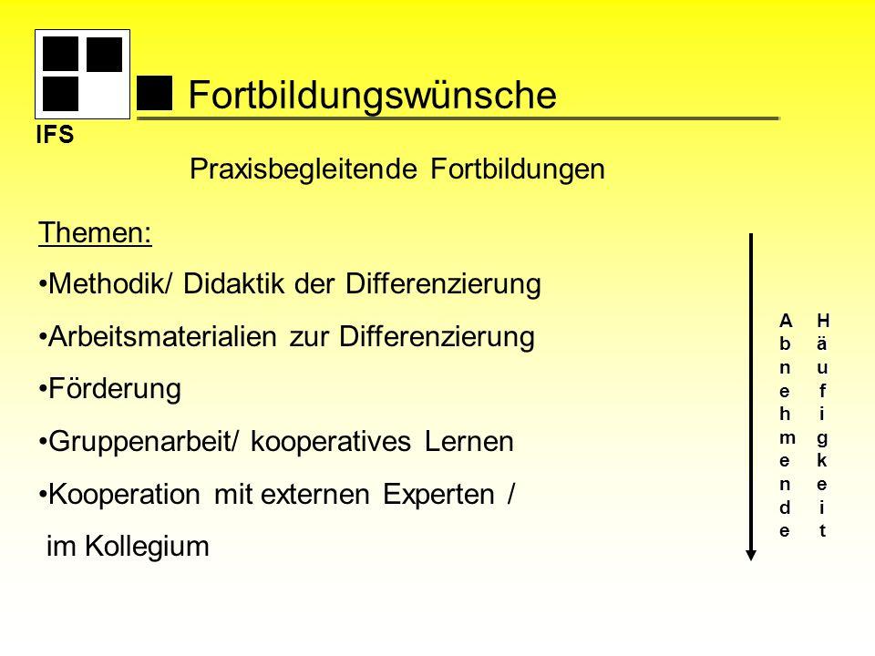 IFS Fortbildungswünsche Themen: Methodik/ Didaktik der Differenzierung Arbeitsmaterialien zur Differenzierung Förderung Gruppenarbeit/ kooperatives Le