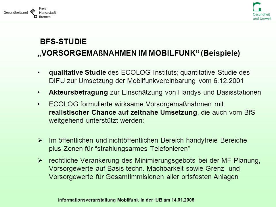 Informationsveranstaltung Mobilfunk in der IUB am 14.01.2005 BFS-STUDIE VORSORGEMAßNAHMEN IM MOBILFUNK (Beispiele) qualitative Studie des ECOLOG-Insti