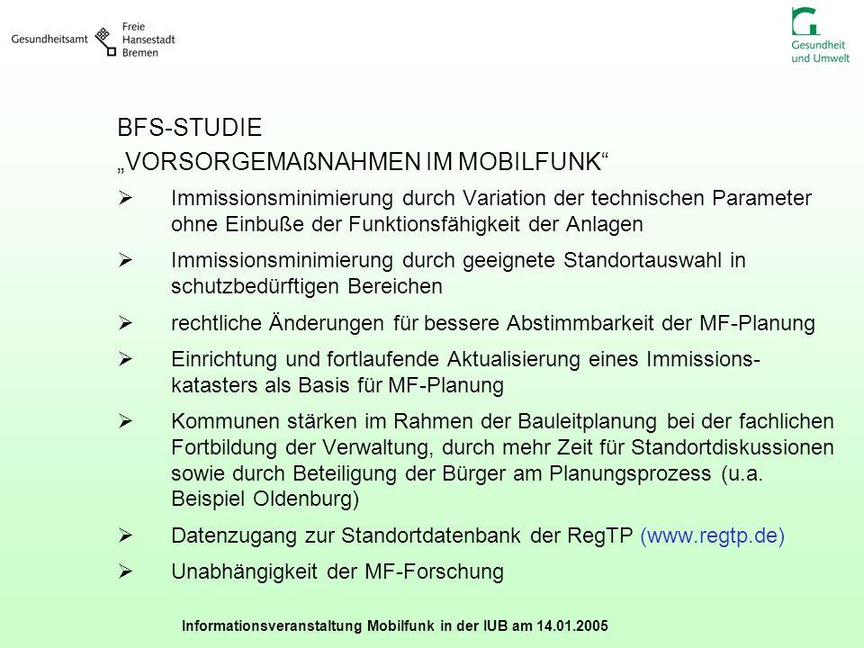 Informationsveranstaltung Mobilfunk in der IUB am 14.01.2005 BFS-STUDIE VORSORGEMAßNAHMEN IM MOBILFUNK Immissionsminimierung durch Variation der techn