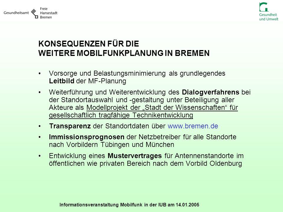 Informationsveranstaltung Mobilfunk in der IUB am 14.01.2005 KONSEQUENZEN FÜR DIE WEITERE MOBILFUNKPLANUNG IN BREMEN Vorsorge und Belastungsminimierun