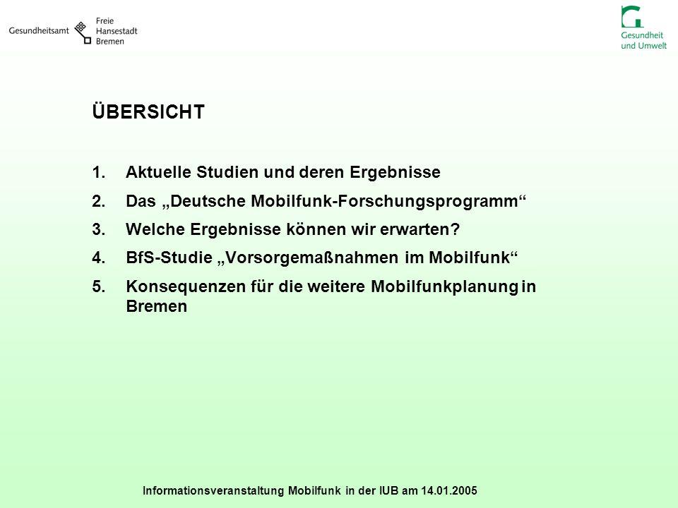 Informationsveranstaltung Mobilfunk in der IUB am 14.01.2005 ÜBERSICHT 1.Aktuelle Studien und deren Ergebnisse 2.Das Deutsche Mobilfunk-Forschungsprog