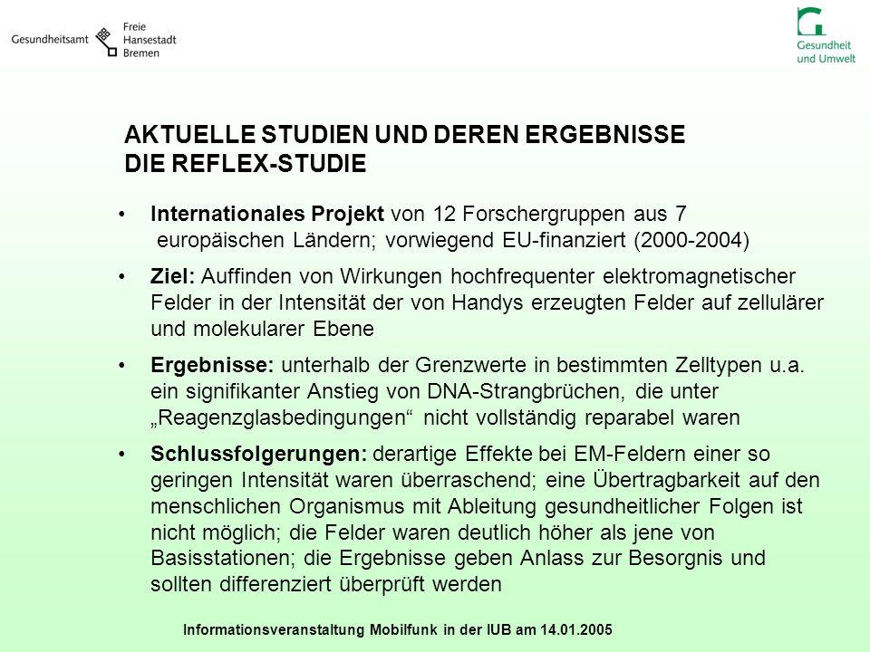 Informationsveranstaltung Mobilfunk in der IUB am 14.01.2005 AKTUELLE STUDIEN UND DEREN ERGEBNISSE DIE REFLEX-STUDIE Internationales Projekt von 12 Fo