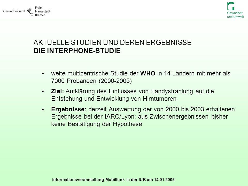 Informationsveranstaltung Mobilfunk in der IUB am 14.01.2005 AKTUELLE STUDIEN UND DEREN ERGEBNISSE DIE INTERPHONE-STUDIE weite multizentrische Studie