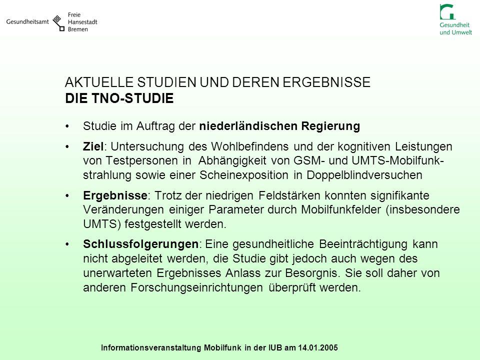 Informationsveranstaltung Mobilfunk in der IUB am 14.01.2005 AKTUELLE STUDIEN UND DEREN ERGEBNISSE DIE TNO-STUDIE Studie im Auftrag der niederländisch