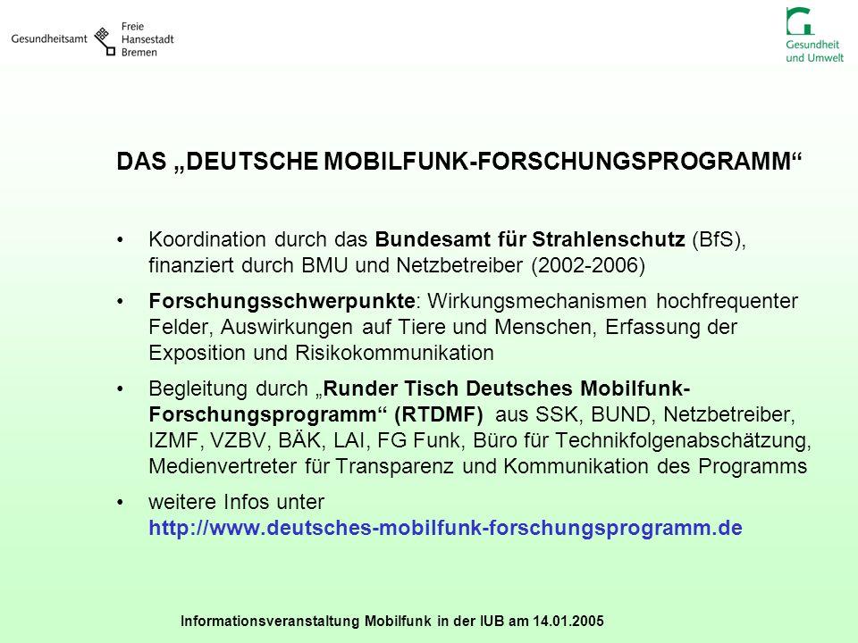Informationsveranstaltung Mobilfunk in der IUB am 14.01.2005 DAS DEUTSCHE MOBILFUNK-FORSCHUNGSPROGRAMM Koordination durch das Bundesamt für Strahlensc