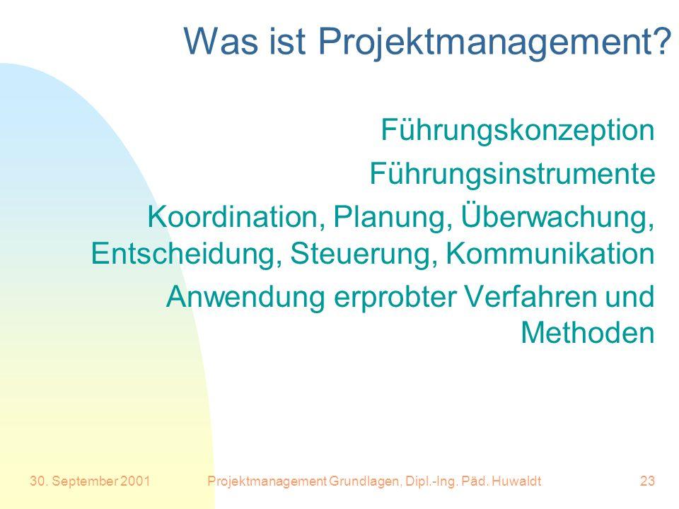 30. September 2001Projektmanagement Grundlagen, Dipl.-Ing. Päd. Huwaldt23 Was ist Projektmanagement? Führungskonzeption Führungsinstrumente Koordinati