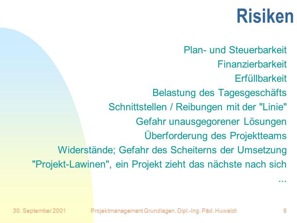 30. September 2001Projektmanagement Grundlagen, Dipl.-Ing. Päd. Huwaldt8 Risiken Plan- und Steuerbarkeit Finanzierbarkeit Erfüllbarkeit Belastung des