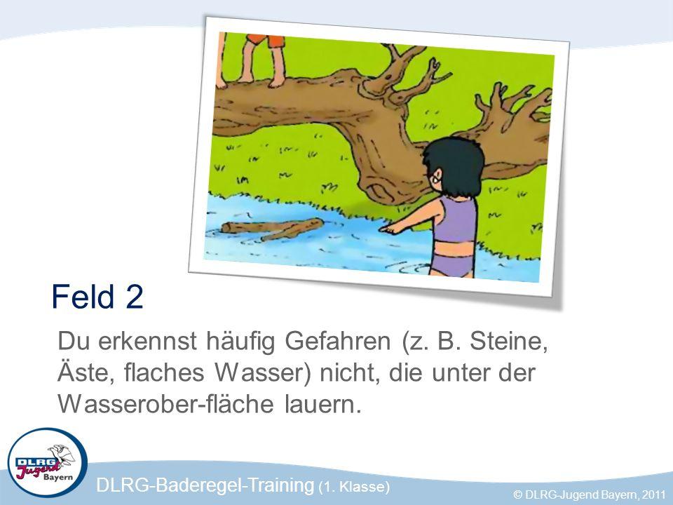 DLRG-Baderegel-Training (1. Klasse) © DLRG-Jugend Bayern, 2011 Feld 2 Du erkennst häufig Gefahren (z. B. Steine, Äste, flaches Wasser) nicht, die unte