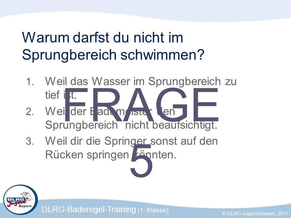 DLRG-Baderegel-Training (1. Klasse) © DLRG-Jugend Bayern, 2011 Warum darfst du nicht im Sprungbereich schwimmen? 1. Weil das Wasser im Sprungbereich z