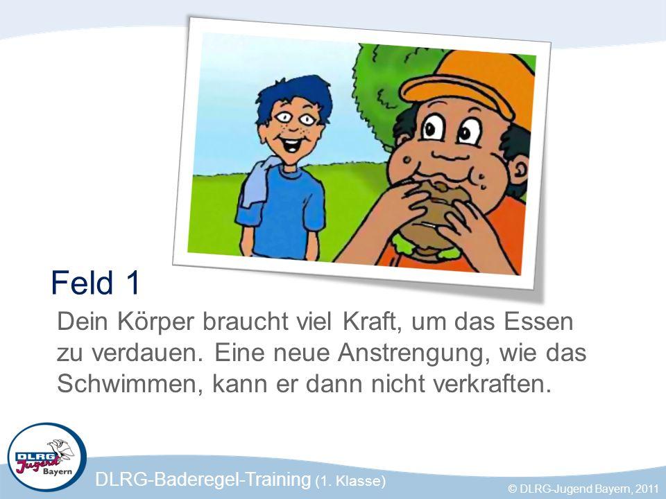 DLRG-Baderegel-Training (1. Klasse) © DLRG-Jugend Bayern, 2011 Feld 1 Dein Körper braucht viel Kraft, um das Essen zu verdauen. Eine neue Anstrengung,