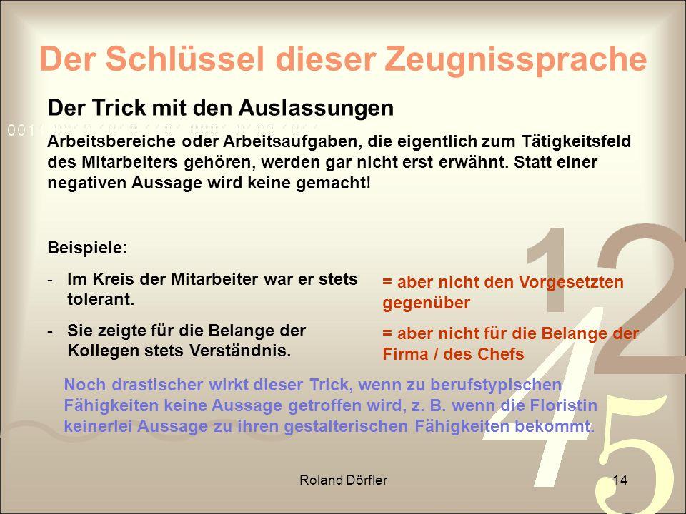 Roland Dörfler14 Der Schlüssel dieser Zeugnissprache Der Trick mit den Auslassungen Arbeitsbereiche oder Arbeitsaufgaben, die eigentlich zum Tätigkeit