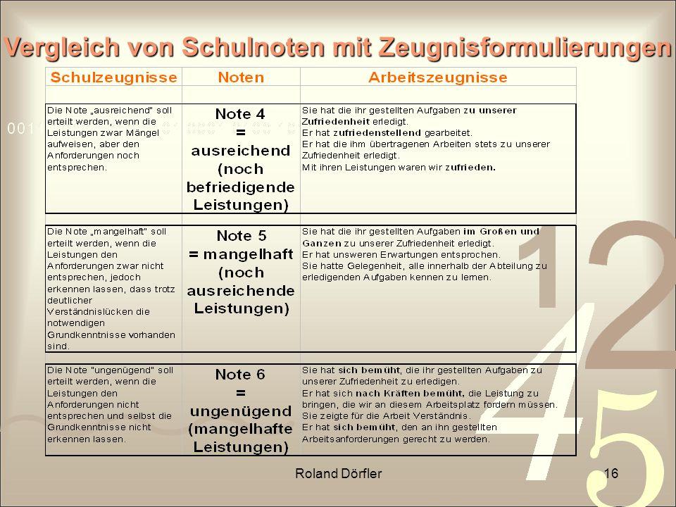 Roland Dörfler16 Vergleich von Schulnoten mit Zeugnisformulierungen