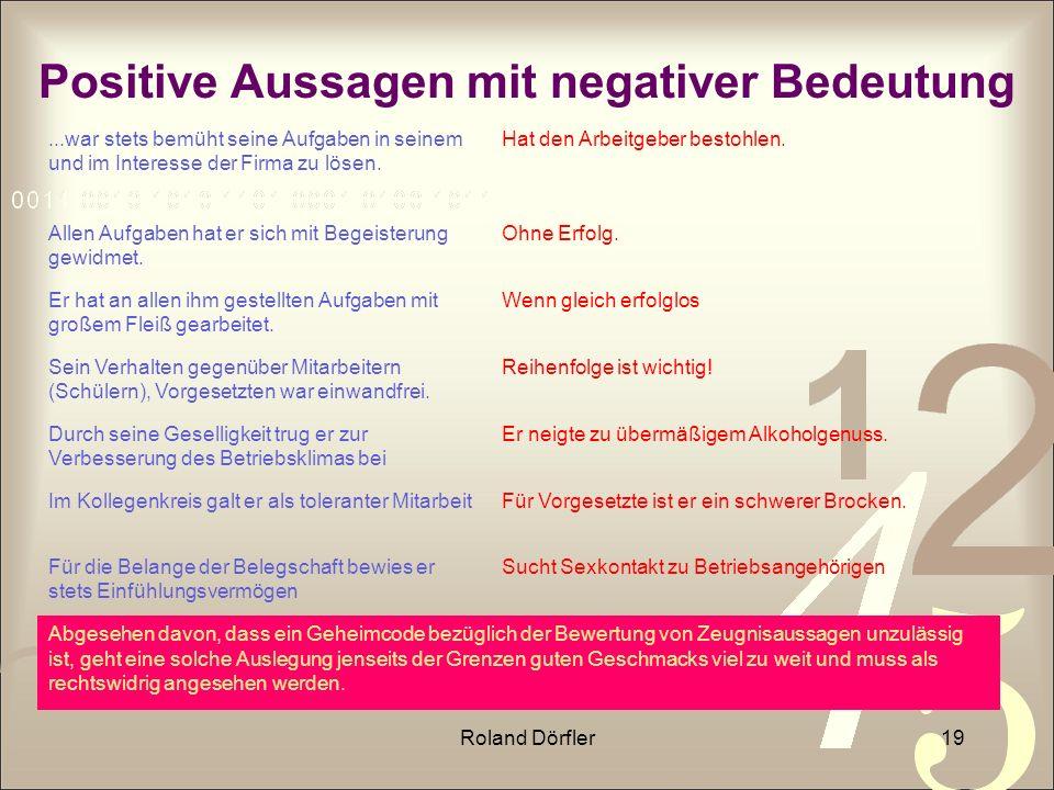 Roland Dörfler19 Positive Aussagen mit negativer Bedeutung...war stets bemüht seine Aufgaben in seinem und im Interesse der Firma zu lösen. Hat den Ar