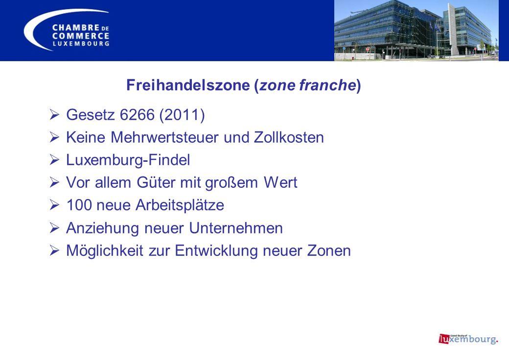 Freihandelszone (zone franche) Gesetz 6266 (2011) Keine Mehrwertsteuer und Zollkosten Luxemburg-Findel Vor allem Güter mit großem Wert 100 neue Arbeit