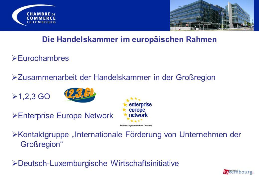 Die Handelskammer im europäischen Rahmen Eurochambres Zusammenarbeit der Handelskammer in der Großregion 1,2,3 GO Enterprise Europe Network Kontaktgru