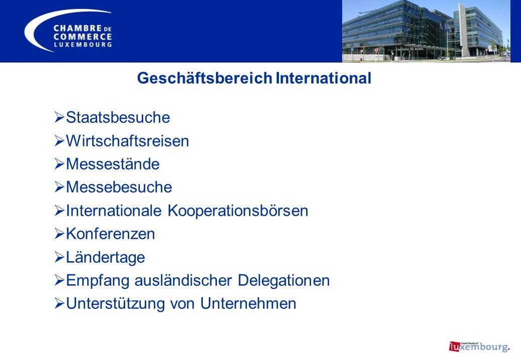 Geschäftsbereich International Staatsbesuche Wirtschaftsreisen Messestände Messebesuche Internationale Kooperationsbörsen Konferenzen Ländertage Empfa