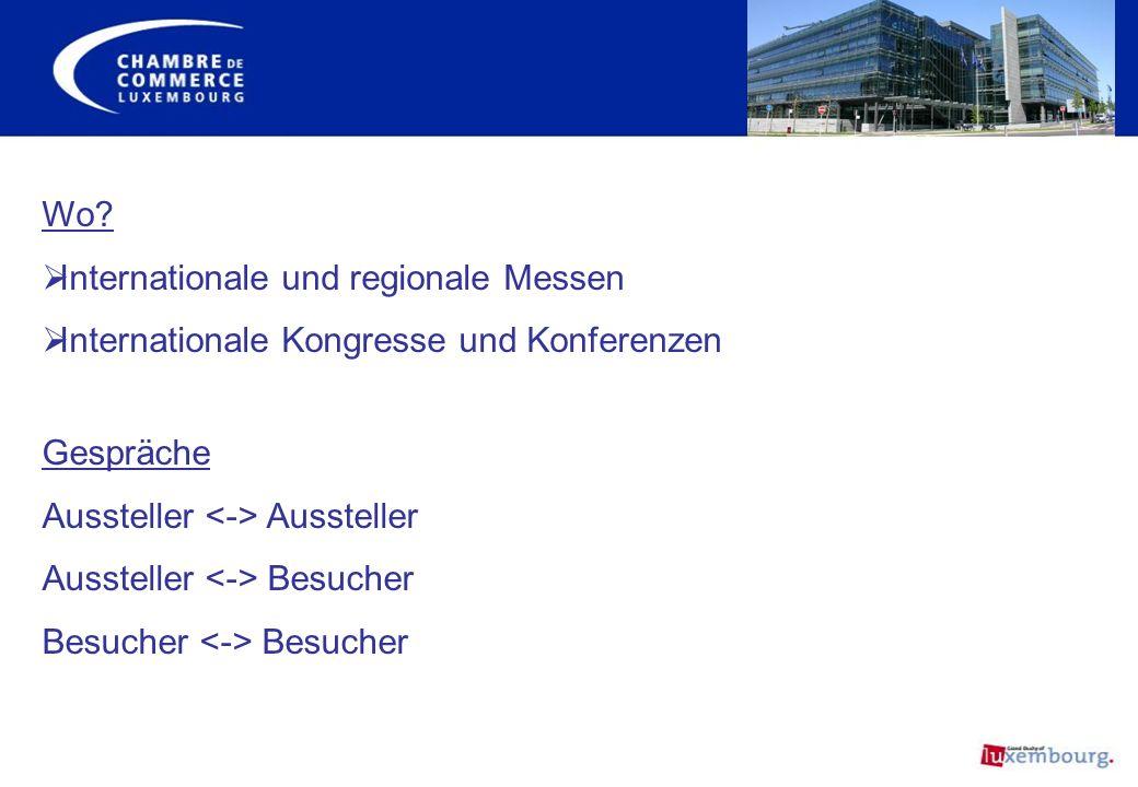 Wo? Internationale und regionale Messen Internationale Kongresse und Konferenzen Gespräche Aussteller Aussteller Besucher Besucher