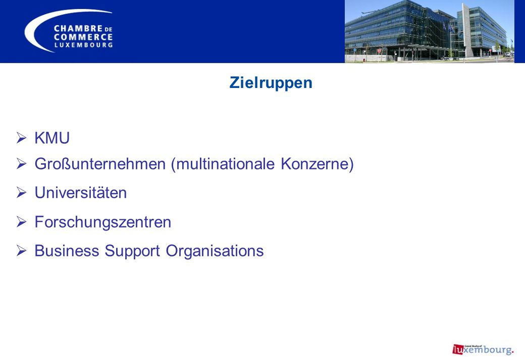 Zielruppen KMU Großunternehmen (multinationale Konzerne) Universitäten Forschungszentren Business Support Organisations