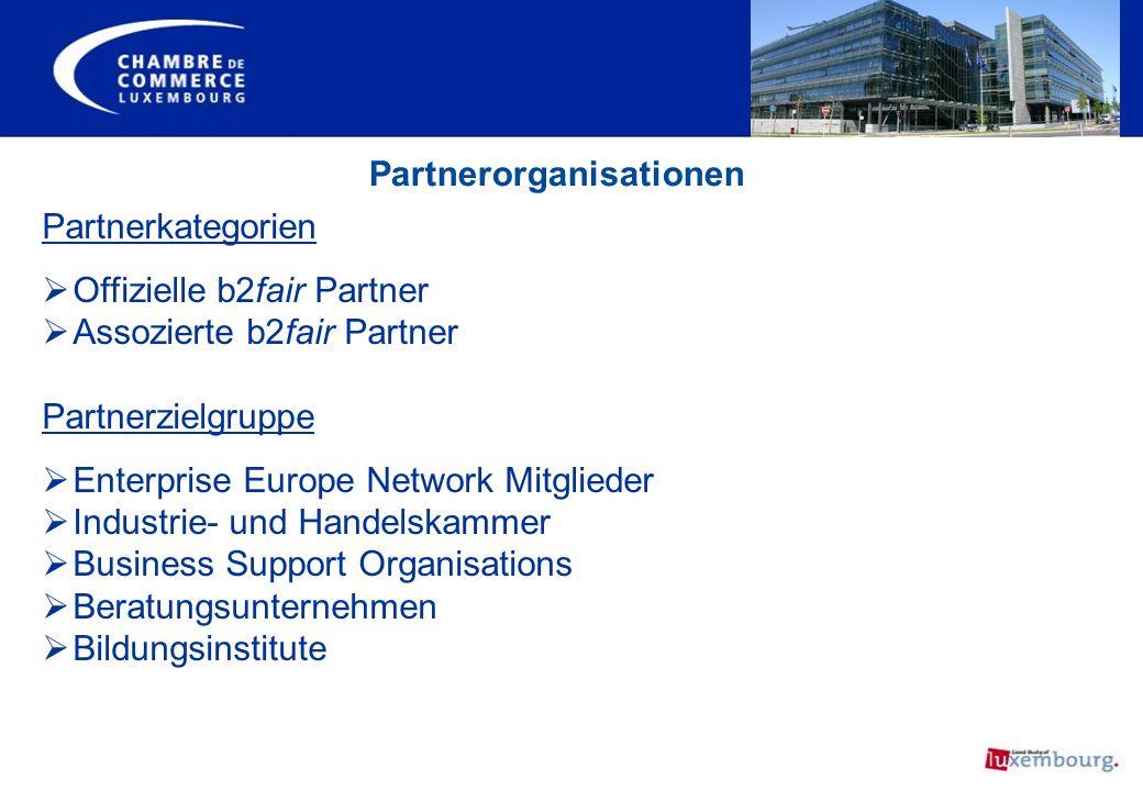 Partnerorganisationen Partnerkategorien Offizielle b2fair Partner Assozierte b2fair Partner Partnerzielgruppe Enterprise Europe Network Mitglieder Ind
