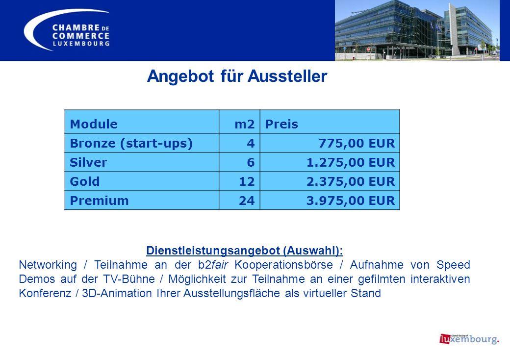 Angebot für Aussteller Modulem2Preis Bronze (start-ups)4 775,00 EUR Silver6 1.275,00 EUR Gold12 2.375,00 EUR Premium24 3.975,00 EUR Dienstleistungsang