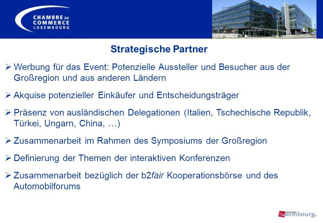 Strategische Partner Werbung für das Event: Potenzielle Aussteller und Besucher aus der Großregion und aus anderen Ländern Akquise potenzieller Einkäu