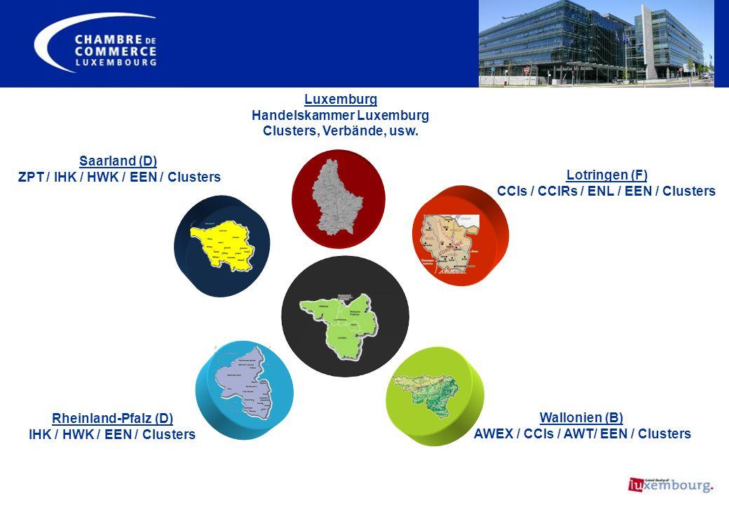 Rheinland-Pfalz (D) IHK / HWK / EEN / Clusters Wallonien (B) AWEX / CCIs / AWT/ EEN / Clusters Saarland (D) ZPT / IHK / HWK / EEN / Clusters Lotringen