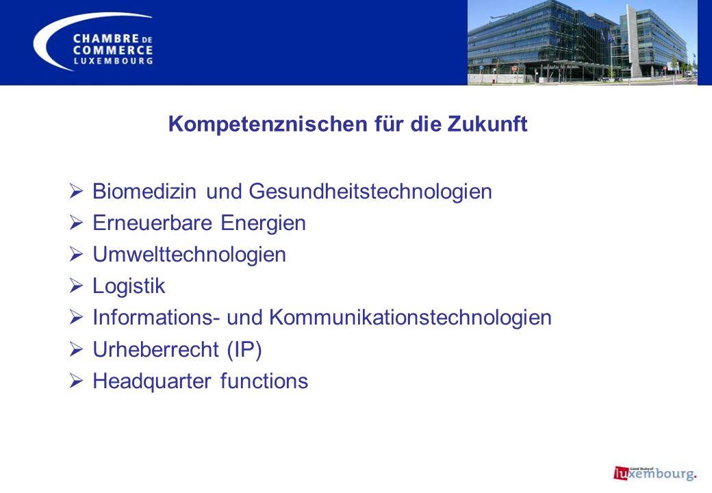 Biomedizin und Gesundheitstechnologien Erneuerbare Energien Umwelttechnologien Logistik Informations- und Kommunikationstechnologien Urheberrecht (IP)