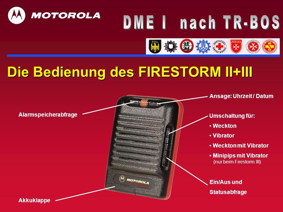 Die Bedienung des FIRESTORM II+III Ansage: Uhrzeit / Datum Alarmspeicherabfrage Akkuklappe Umschaltung für: Weckton Vibrator Weckton mit Vibrator Mini