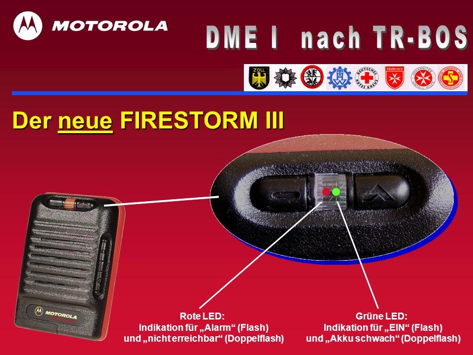 Der neue FIRESTORM III Rote LED: Indikation für Alarm (Flash) und nicht erreichbar (Doppelflash) Grüne LED: Indikation für EIN (Flash) und Akku schwac