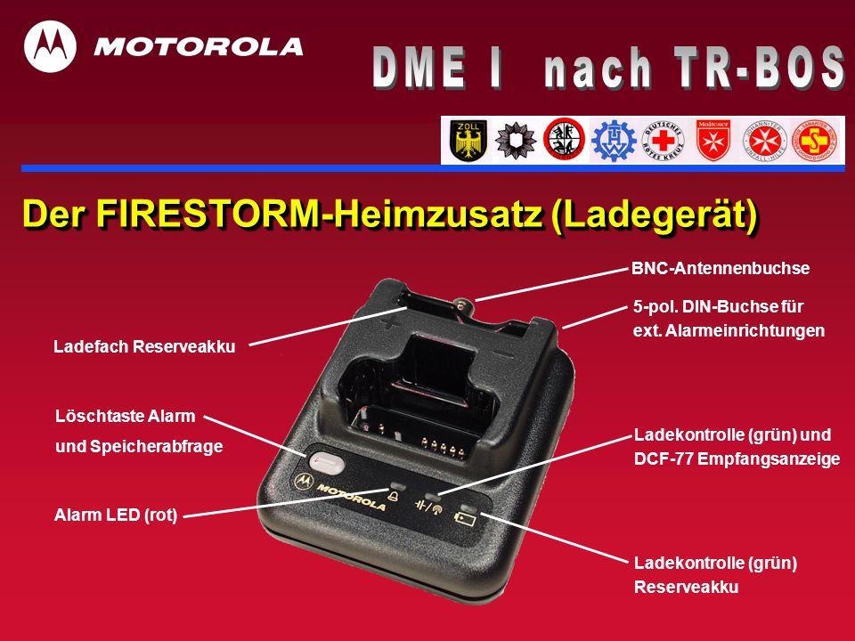 Der FIRESTORM-Heimzusatz (Ladegerät) BNC-Antennenbuchse Ladefach Reserveakku Löschtaste Alarm und Speicherabfrage Ladekontrolle (grün) Reserveakku 5-p
