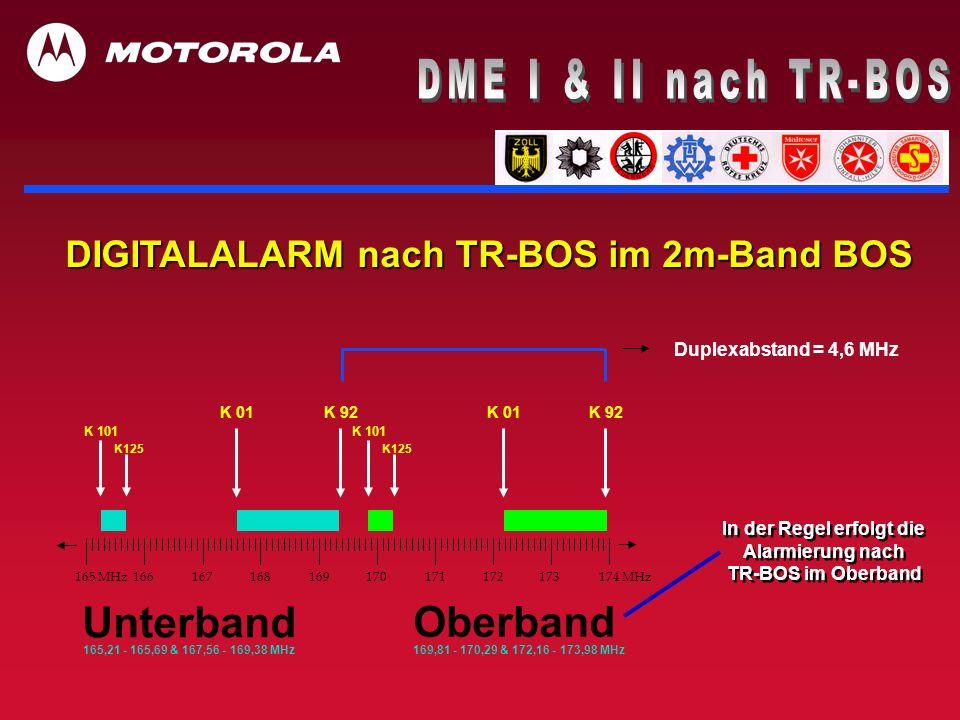 DIGITALALARM nach TR-BOS im 2m-Band BOS Duplexabstand = 4,6 MHz Oberband 169,81 - 170,29 & 172,16 - 173,98 MHz 165,21 - 165,69 & 167,56 - 169,38 MHz U