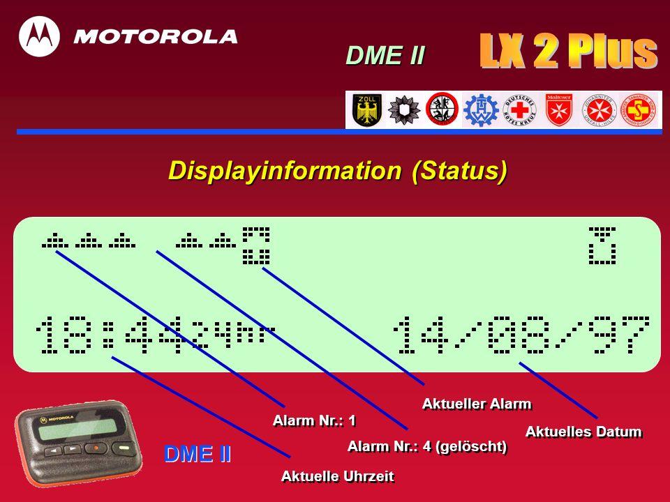 Displayinformation (Status) DME II Aktuelle Uhrzeit Alarm Nr.: 4 (gelöscht) Alarm Nr.: 1 Aktuelles Datum Aktueller Alarm
