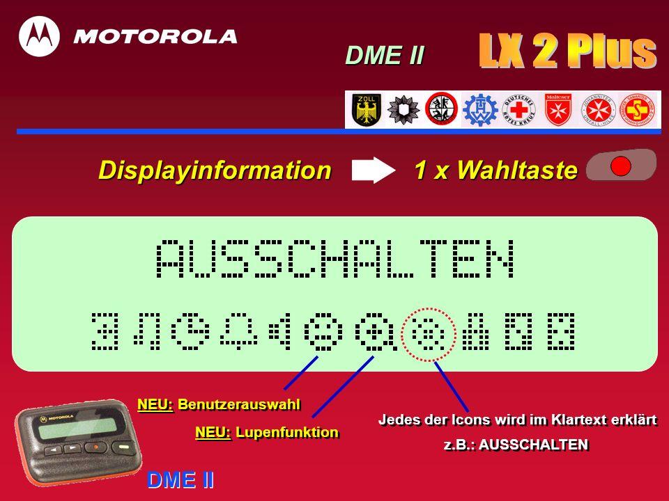 DME II Displayinformation 1 x Wahltaste DME II Jedes der Icons wird im Klartext erklärt z.B.: AUSSCHALTEN Jedes der Icons wird im Klartext erklärt z.B