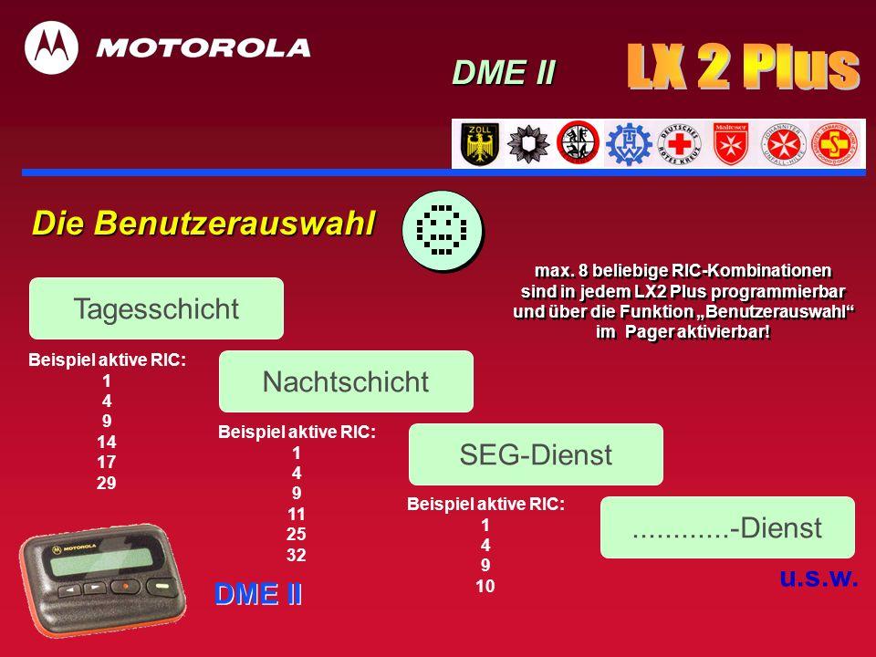 DME II Die Benutzerauswahl Tagesschicht Nachtschicht SEG-Dienst............-Dienst u.s.w. Beispiel aktive RIC: 1 4 9 14 17 29 Beispiel aktive RIC: 1 4