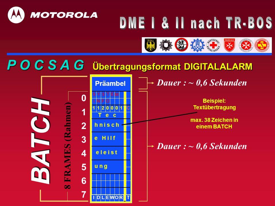 P O C S A G Übertragungsformat DIGITALALARM BATCH 0 1 2 3 4 5 6 7 8 FRAMES (Rahmen) Dauer : ~ 0,6 Sekunden 001011C2 ETYSS M Präambel ON IF h n i s c h