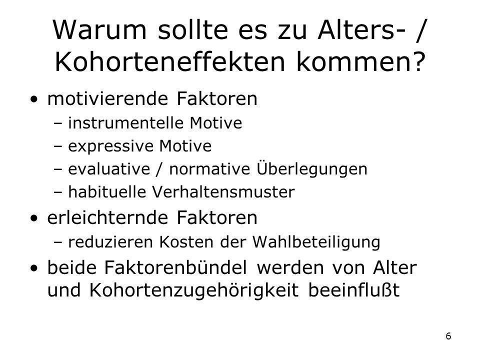 17 Modell 1 Reines APK-Modell Problem: Perfekte Multikollinearität –Restriktionen für Effekte (z.B.
