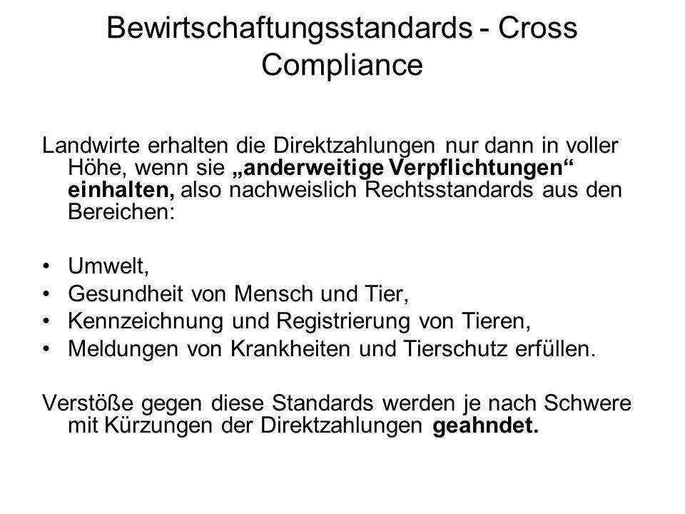 Bewirtschaftungsstandards - Cross Compliance Landwirte erhalten die Direktzahlungen nur dann in voller Höhe, wenn sie anderweitige Verpflichtungen ein