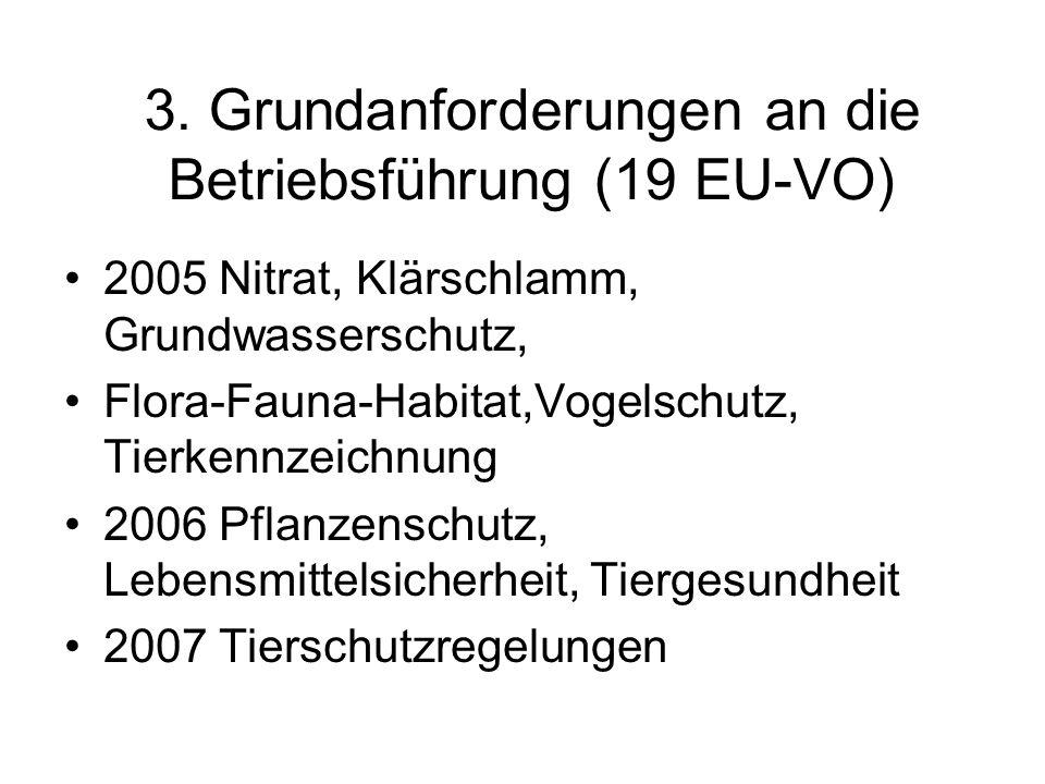 3. Grundanforderungen an die Betriebsführung (19 EU-VO) 2005 Nitrat, Klärschlamm, Grundwasserschutz, Flora-Fauna-Habitat,Vogelschutz, Tierkennzeichnun