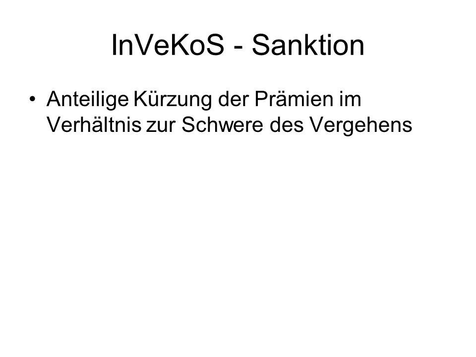 InVeKoS - Sanktion Anteilige Kürzung der Prämien im Verhältnis zur Schwere des Vergehens