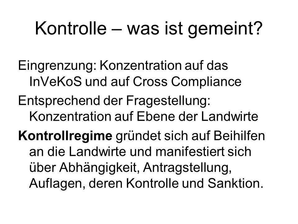 Kontrolle – was ist gemeint? Eingrenzung: Konzentration auf das InVeKoS und auf Cross Compliance Entsprechend der Fragestellung: Konzentration auf Ebe