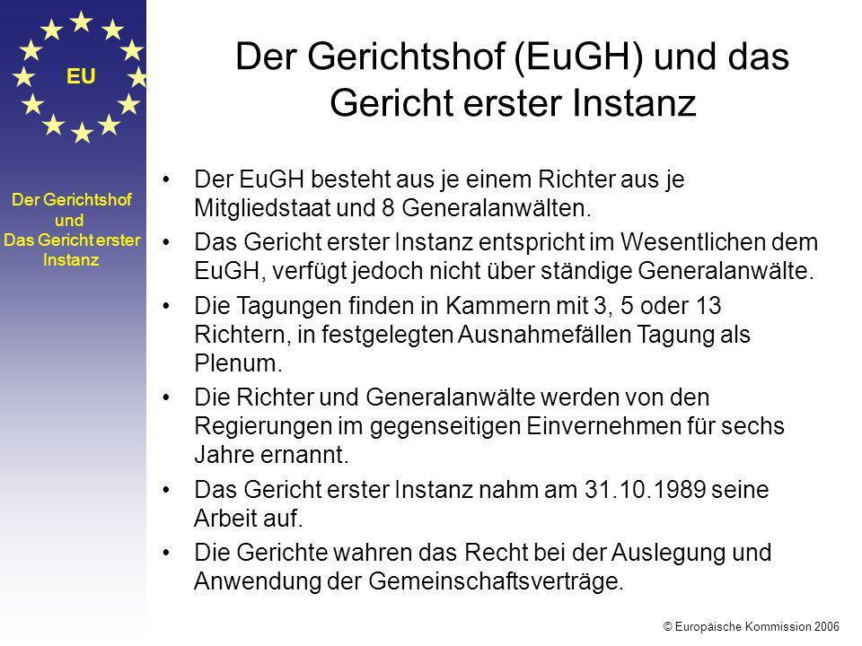 EU Der Gerichtshof und Das Gericht erster Instanz Der EuGH besteht aus je einem Richter aus je Mitgliedstaat und 8 Generalanwälten. Das Gericht erster