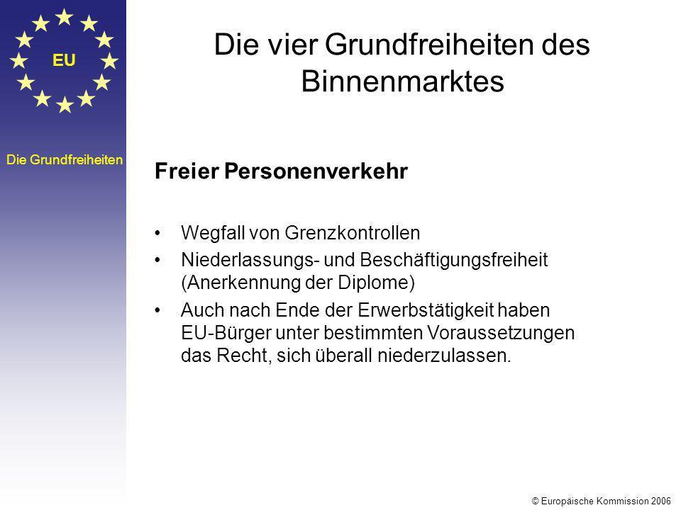 EU Die Grundfreiheiten Die vier Grundfreiheiten des Binnenmarktes Freier Personenverkehr Wegfall von Grenzkontrollen Niederlassungs- und Beschäftigung