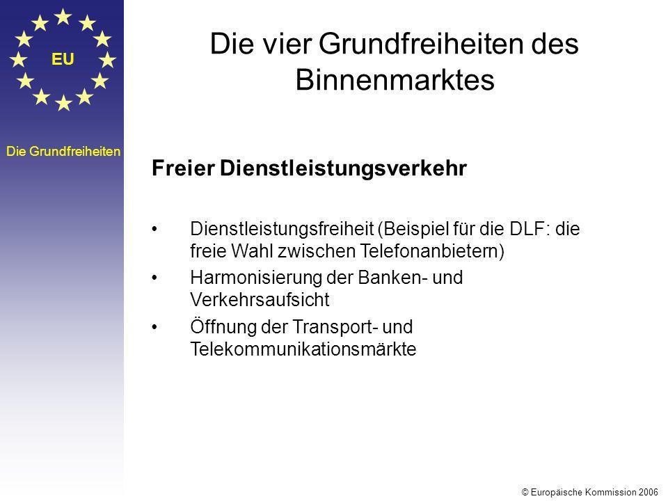 EU Die Grundfreiheiten Die vier Grundfreiheiten des Binnenmarktes Freier Dienstleistungsverkehr Dienstleistungsfreiheit (Beispiel für die DLF: die fre