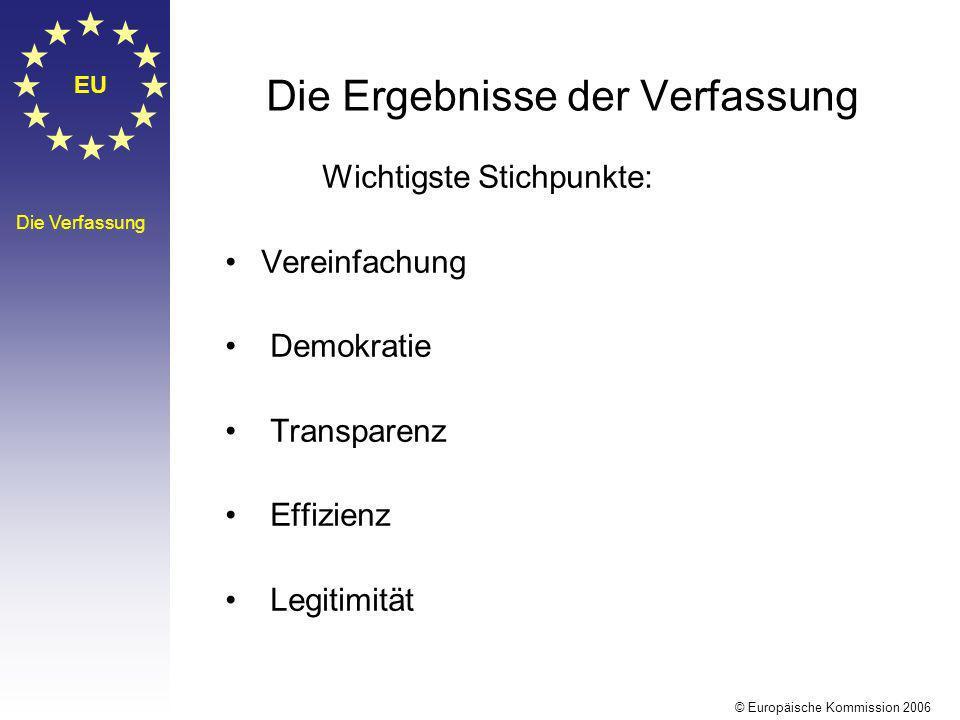 EU Die Verfassung Die Ergebnisse der Verfassung Wichtigste Stichpunkte: Vereinfachung Demokratie Transparenz Effizienz Legitimität © Europäische Kommi