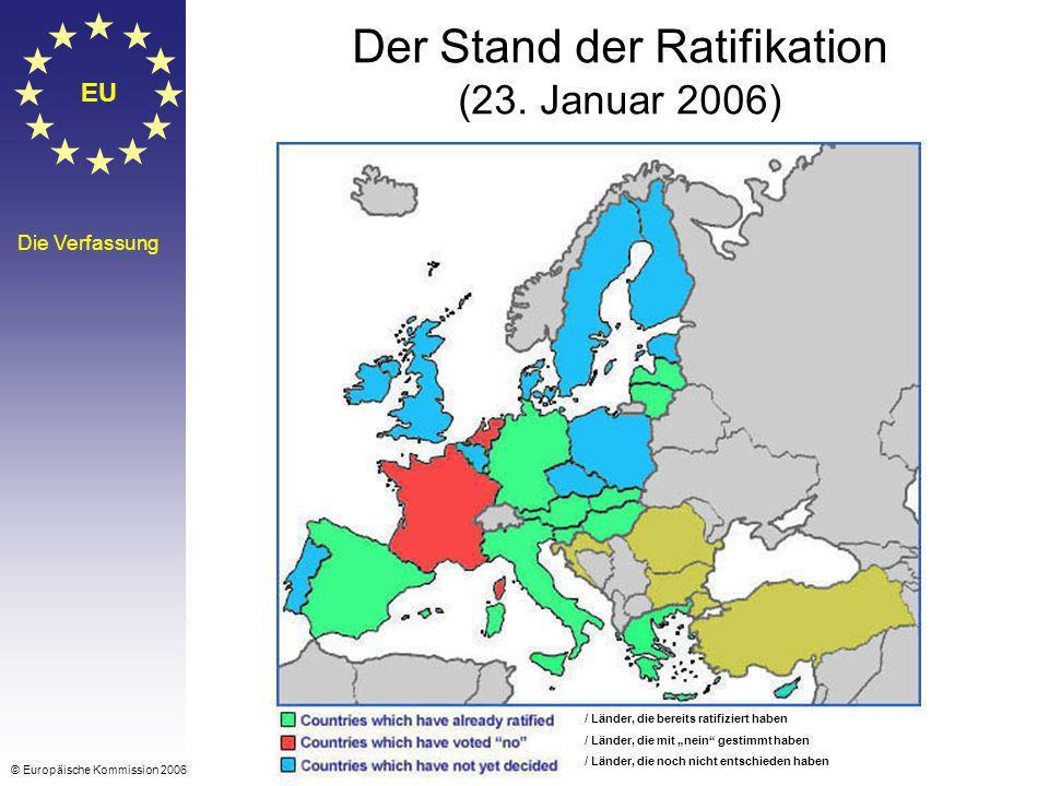 EU Die Verfassung Der Stand der Ratifikation (23. Januar 2006) © Europäische Kommission 2006 / Länder, die bereits ratifiziert haben / Länder, die mit