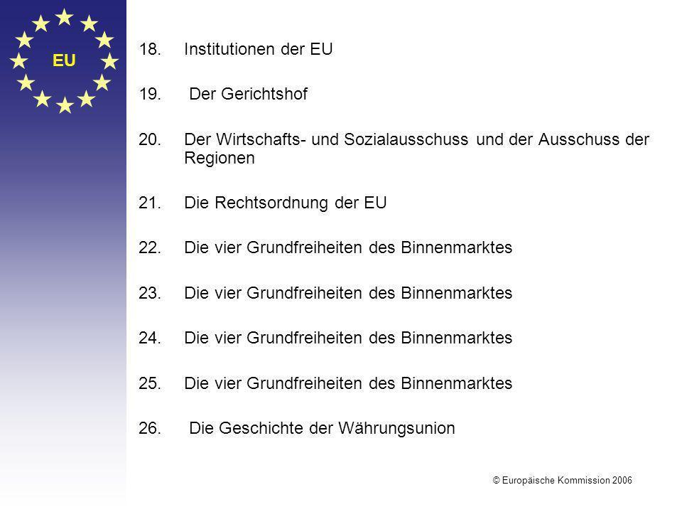 EU © Europäische Kommission 2006 18.Institutionen der EU 19. Der Gerichtshof 20.Der Wirtschafts- und Sozialausschuss und der Ausschuss der Regionen 21